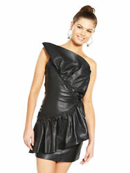 100% Genuine Soft Leather Dress OneShoulder Frill Prom Party Evening Cocktail 12 GBP 39.99
