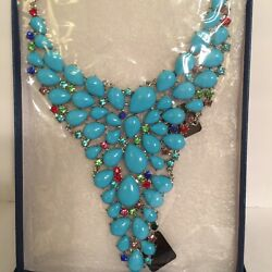 Statement Necklace Turquoise Color Multicolored Faceted Crystal