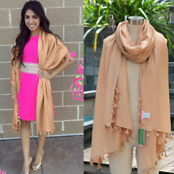New Lilly Pulitzer Gold Pb Camel Lana Scarf Wrap Gold Metallic Tassel $98