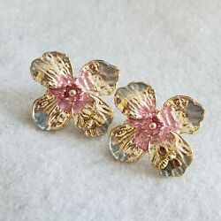 Artistic yellow gold plated flower design pink $ blue pattern stud earrings