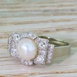 RETRO NATURAL PEARL & 1.18ct OLD CUT DIAMOND CLUSTER RING - 18k Gold - c 1950