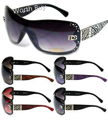 New Women Rhinestones Wrap Shield Sunglasses Designer Fashion Shades Zebra Print