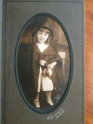Antique Photo Portrait Young GIRL With BALL In Original Paper Frame Dated 1920