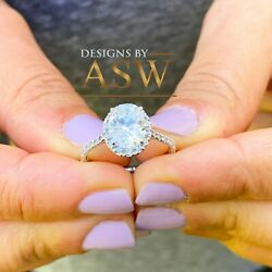 14K SOLID WHITE GOLD OVAL CUT DIAMOND ENGAGEMENT RING DECO HALO STYLE 2.00CTW