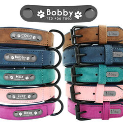 Personalized Dog Leather Collar Metal ID Engrave Name Tag for Small to Large Dog $13.99