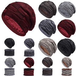 Mens Slouchy Beanie Hat Ribbed Knitted Knit Cap Neck Scarf Sets Winter Warm Ski