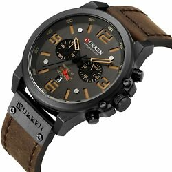 CURREN Military Men#x27;s Watch Sport Chronograph Leather Infantry Reloj Para Hombre $24.99