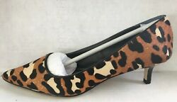 Charles David Kitten Heel Pumps Leopard Print Calf Hair 7 12 M