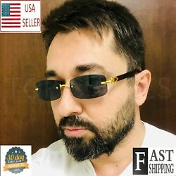 Fashion Mens Classy Style Wood Brown Rectangular Gold Frame Vintage Sunglasses $12.98