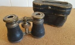 Antique Chevalier Optician Paris French Opra Glasses Silver Leather WCase Works