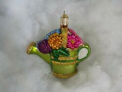 OWC Glass Flower Watering Can Old World Christmas Ornament Floral Total 1