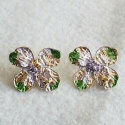 Perfect yellow gold plated purple & green flower design stud earrings