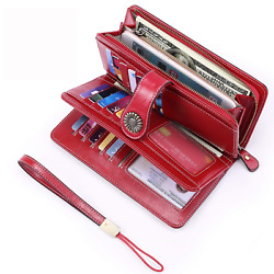UMODE Vintage Style Genuine Leather Large Capacity RFID Wallet Organizer for Red