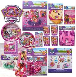 PAW PATROL Pink Girl Birthday Party Plates Napkins Banner Decoration $3.49