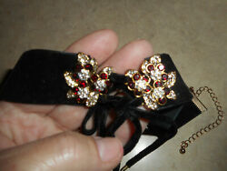 ANTIQUE VICTORIAN VELVET CHOKER MOURNING NECKLACE RED & WHITE RHINESTONES