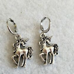 Dreamy silver white gold plated unicorn pattern design dangle earrings