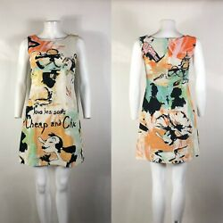 Rare Vtg Moschino Cheap amp; Chic Olive Oyl Print Velvet Dress S $238.00