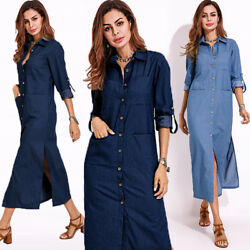 Long Sleeve ZANZEA Women Denim Blue Buttons Long Shirt Dress Party Cocktail Plus $13.33