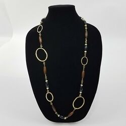 Necklace Wood Hammered Metal Gold Tone Beaded Black Asymmetric Circle Long