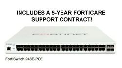 Fortinet FS-248E-POE Fortiswitch with a 5-YEAR FORTICARE SUPPORT CONTRACT!