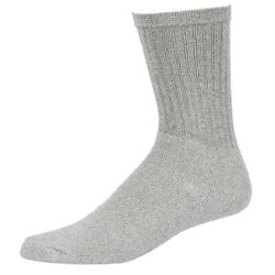 Mens Socks 4 Pairs Cotton Crew Solid Grey Color Athletic Sport Socks Lot US New $6.99