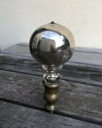 Rare Victorian Antique Mercury Glass Brass Gazing Butlers Ball Finial $160.00
