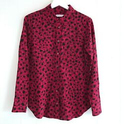EQUIPMENT Femme Red Black Animal Print Silk Button Down Blouse - Size Small