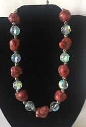 Chunky Red Dyed Turquoise Nugget and faceted AB crystal bead necklace
