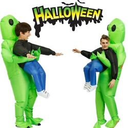Kids Adults Inflatable Green Alien Costume Carnival Halloween Cute Cosplay Suit