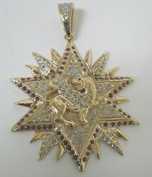 14KT LARGE STAR LION WITH DIAMONDS AND RUBIES PENDANTS