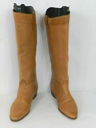 Vintage 1970s Corelli Bootalinos Womens Knee High Boots Size 8.5 M Tan Pull On