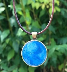 Dreamy Sky Blue Bronze Brown Cord Necklace