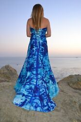NEW Silk Bohemian Beach Wedding Dress White Blue 6 8 10 Corset Sottero