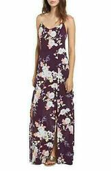 Love Fire Women#x27;s Purple Garden Floral Print Trendy Maxi Slip Dress Pick Size $14.99