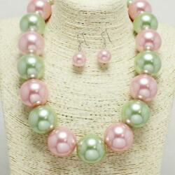 20mm Green & Pink Combo 1 Layer Pearl Beaded Necklace Set ( 1000 )