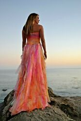 Silk Bohemian Wedding Dress formal Gown Blue purple pink purple white M 4 6 8 10