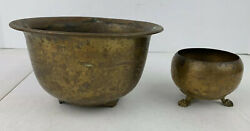 Brass Vintage Pot Planter Bowl With Feet Lot Of 2 Floral Engraved Light Weight $32.18