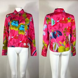 Rare Vtg Gucci by Tom Ford Pink Floral Silk Long Sleeve Shirt S c.1999 $198.00