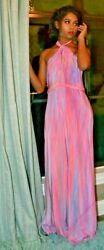 NEW J.Crew 12 14 long Silk Halter Bridesmaid Maxi Dress Pink Blue purple tie dye
