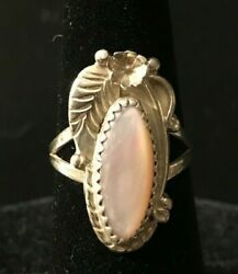 Mother-of-Pearl Sterling Silver Ring - Size 6.5