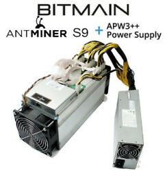 Bitmain Antminer S9 **13.5 THs** with APW3++ PSU **IN HAND Ships Immediately**
