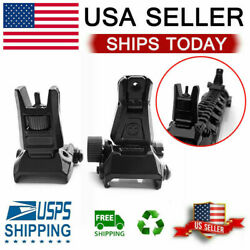 Low Profile Flip-up Metal Tactical Sight Folding Sights Front and Rear Set USA $11.99