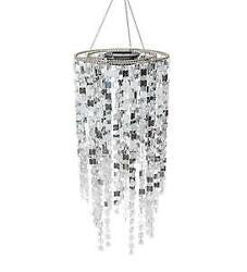Solar Powered LED Lighted Sparkly Silver Hanging Outdoor Chandelier $49.95