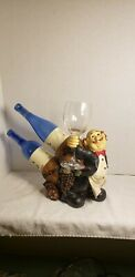 Waiter Butler Double Wine Bottle Holder Bar Statue Caddy with Wine Glass