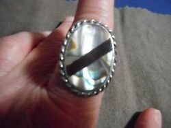 Vintage MEXICO 925 Sterling Silver Mother of Pearl Abalone Ring Sz 8 Eagle mark