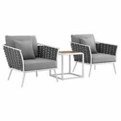 Modway Stance 3 Piece Patio Conversation Set in White and Gray $1153.20
