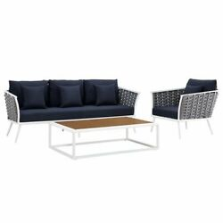 Modway Stance 3 Piece Patio Sofa Set in White and Navy $1695.92
