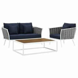 Modway Stance 3 Piece Patio Sofa Set in White and Navy $1500.55