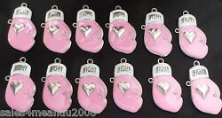 12 Enamel Breast Cancer Awareness Fight Pink Boxing Glove Charms Crafts Jewelry