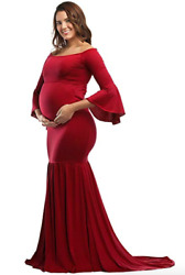 JustVH Maternity Fitted Gown Off Shoulder Flare Long Sleeve Mermaid Maxi Large $20.00